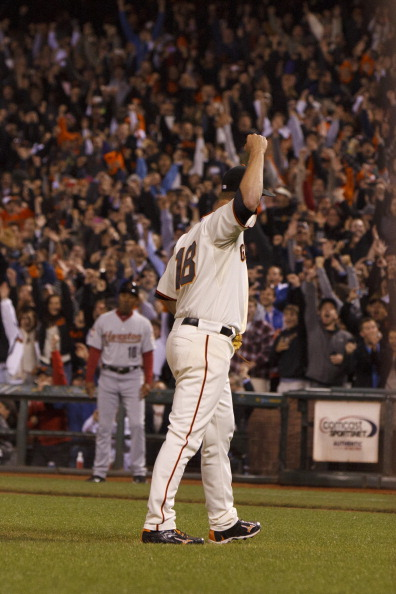 SAN FRANCISCO, CA - JUNE 13:  Matt Cain #18 of the San Francisco Giants celebrates after pitching a perfect game against the Houston Astros at AT&T Park on June 13, 2012 in San Francisco, California. The San Francisco Giants defeated the Houston Astros 10-0. Matt Cain struck out a career-high 14 batters, and pitched a perfect game in what was the first in Giants franchise history. (Photo by Jason O. Watson/Getty Images)