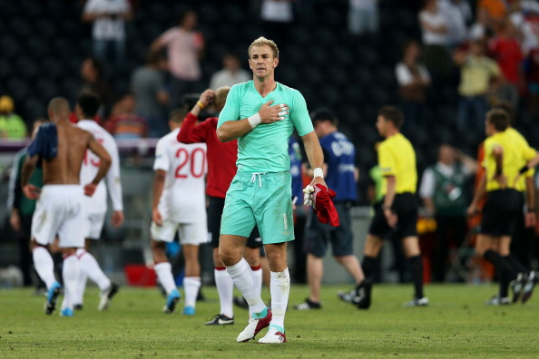 DONETSK, UKRAINE - JUNE 11:  Joe Hart of England gestures at the final whistle during the UEFA EURO 2012 group D match between France and England at Donbass Arena on June 11, 2012 in Donetsk, Ukraine.  (Photo by Julian Finney/Getty Images)