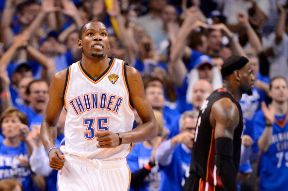 OKLAHOMA CITY, OK - JUNE 14:  Kevin Durant #35 of the Oklahoma City Thunder reacts alongside LeBron James #6 of the Miami Heat in the fourth quarter in Game Two of the 2012 NBA Finals at Chesapeake Energy Arena on June 14, 2012 in Oklahoma City, Oklahoma. NOTE TO USER: User expressly acknowledges and agrees that, by downloading and or using this photograph, User is consenting to the terms and conditions of the Getty Images License Agreement.  (Photo by Ronald Martinez/Getty Images)