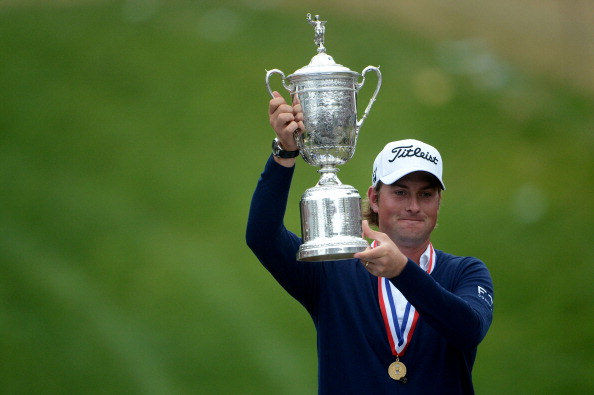 SAN FRANCISCO, CA - JUNE 17:  Webb Simpson of the United States poses with the trophy after his one-stroke victory at the 112th U.S. Open at The Olympic Club on June 16, 2012 in San Francisco, California.  (Photo by Stuart Franklin/Getty Images)
