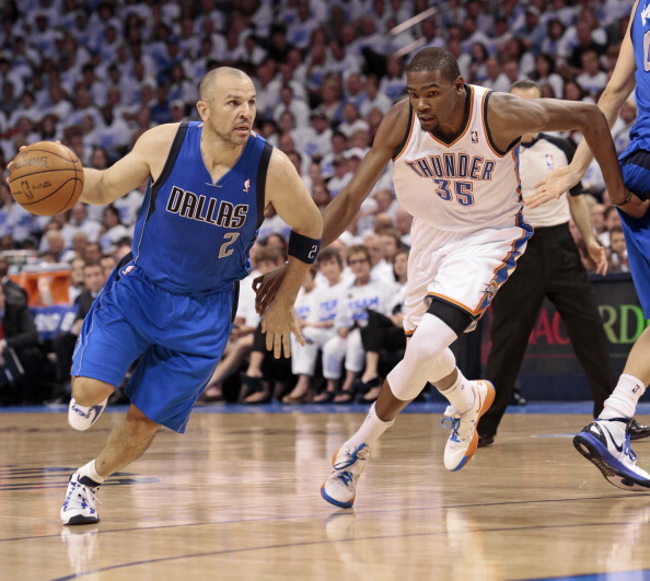 OKLAHOMA CITY, OK - APRIL 30:  Jason Kidd #2 of the Dallas Mavericks drives as Kevin Durant #35 of the Oklahoma City Thunder follows in Game Two of the Western Conference Quarterfinals in the 2012 NBA Playoffs on April 30, 2012 at the Chesapeake Energy Arena in Oklahoma City, Oklahoma. Oklahoma City defeated Dallas 102-99. NOTE TO USER: User expressly acknowledges and agrees that, by downloading and or using the photograph, User is consenting to the terms and conditions of the Getty Images License Agreement. (Photo by Brett Deering/Getty Images)