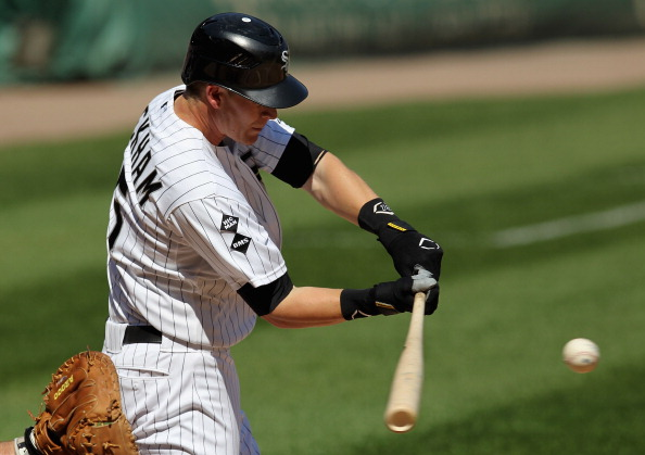 CHICAGO, IL - JUNE 09: Gordon Beckham #15 of the Chicago White Sox bats against the Houston Astros at U.S. Cellular Field on June 9, 2012 in Chicago, Illinois. The White Sox defeated the Astros 10-1. (Photo by Jonathan Daniel/Getty Images)