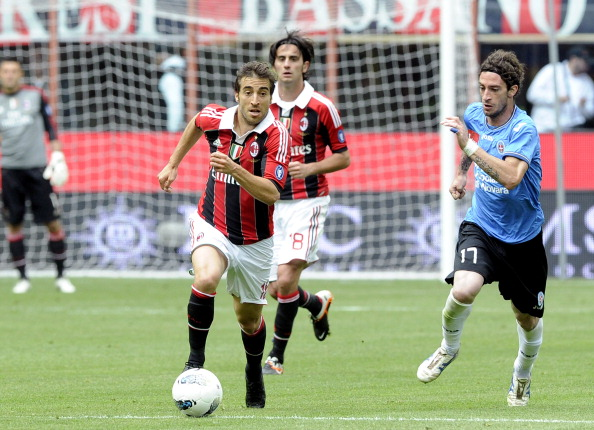 MILAN, ITALY - MAY 13:  Mathieu Flamini of AC Milan during the Serie A match between AC Milan and Novara Calcio at Stadio Giuseppe Meazza on May 13, 2012 in Milan, Italy.  (Photo by Claudio Villa/Getty Images)
