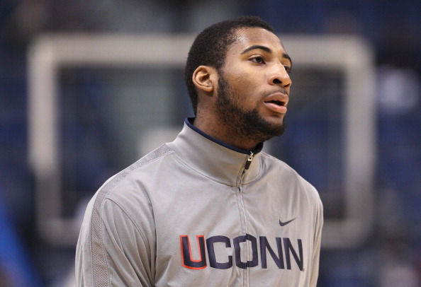 HARTFORD, CT - JANUARY 29:  Andre Drummond #12 of the Connecticut Huskies looks on before the game against the Notre Dame Fighting Irish on January 29, 2012 at the XL Center in Hartford, Connecticut.  (Photo by Elsa/Getty Images)
