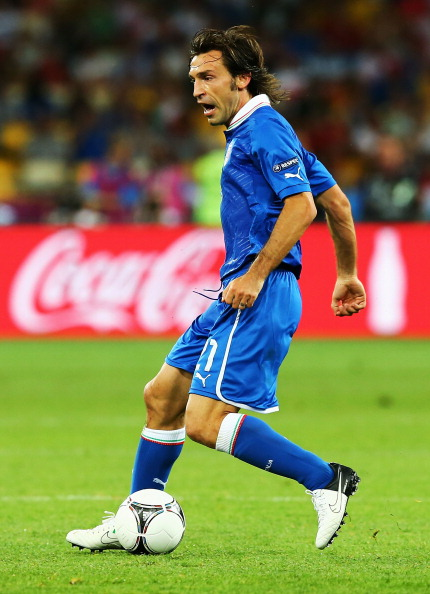 KIEV, UKRAINE - JUNE 24: Andrea Pirlo of Italy runs with the ball during the UEFA EURO 2012 quarter final match between England and Italy at The Olympic Stadium on June 24, 2012 in Kiev, Ukraine.  (Photo by Martin Rose/Getty Images)