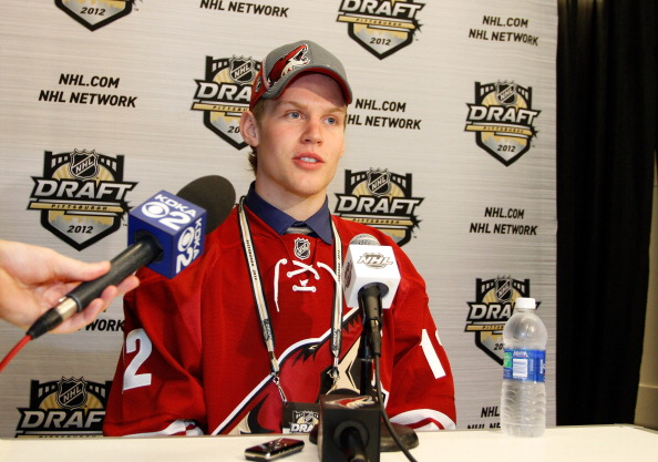 PITTSBURGH, PA - JUNE 22: Henrik Samuelsson, 27th overall pick by the Phoenix Coyotes, speaks to media during Round One of the 2012 NHL Entry Draft at Consol Energy Center on June 22, 2012 in Pittsburgh, Pennsylvania.  (Photo by Justin K. Aller/Getty Images)