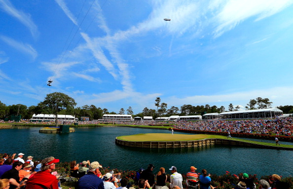 PONTE VEDRA BEACH, FL - MAY 12:  (EDITORS NOTE: A polarizing filter was used for this image.)  A general view of the 17th hole is seen as a gallery of fans watch play during the third round of THE PLAYERS Championship held at THE PLAYERS Stadium course at TPC Sawgrass on May 12, 2012 in Ponte Vedra Beach, Florida.  (Photo by David Cannon/Getty Images)