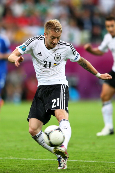 GDANSK, POLAND - JUNE 22:  Marco Reus of Germany with the ball during the UEFA EURO 2012 quarter final match between Germany and Greece at The Municipal Stadium on June 22, 2012 in Gdansk, Poland.  (Photo by Michael Steele/Getty Images)