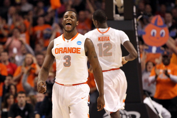 BOSTON, MA - MARCH 24:  Dion Waiters #3 of the Syracuse Orange reacts after a basket against the Ohio State Buckeyes during the 2012 NCAA Men's Basketball East Regional Final at TD Garden on March 24, 2012 in Boston, Massachusetts.  (Photo by Jim Rogash/Getty Images)
