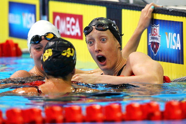 OMAHA, NE - JUNE 27:  Breeja Larson (R) reacts after she won the championship final of the Women's 100 m Breaststroke during Day Three of the 2012 U.S. Olympic Swimming Team Trials at CenturyLink Center on June 27, 2012 in Omaha, Nebraska.  (Photo by Al Bello/Getty Images)