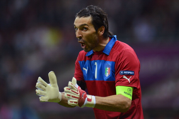 WARSAW, POLAND - JUNE 28:  Gianluigi Buffon of Italy reacts during the UEFA EURO 2012 semi final match between Germany and Italy at the National Stadium on June 28, 2012 in Warsaw, Poland.  (Photo by Shaun Botterill/Getty Images)