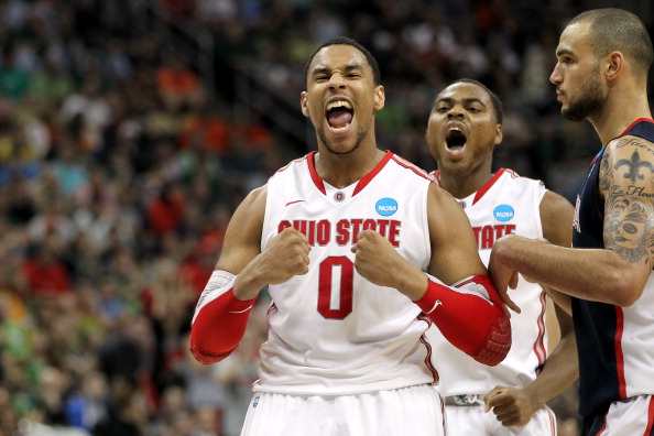PITTSBURGH, PA - MARCH 17:  Jared Sullinger #0 and Deshaun Thomas #1 (C) of the Ohio State Buckeyes reacts in the second half against Robert Sacre #00 of the Gonzaga Bulldogs during the third round of the 2012 NCAA Men's Basketball Tournament at Consol Energy Center on March 17, 2012 in Pittsburgh, Pennsylvania.  (Photo by Gregory Shamus/Getty Images)