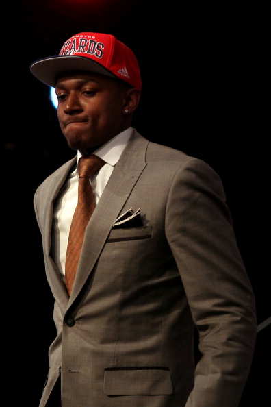 NEWARK, NJ - JUNE 28:  Bradley Beal of the Florida Gators walks off stage after he was selected number three overall by the Washington Wizards during the first round of the 2012 NBA Draft at Prudential Center on June 28, 2012 in Newark, New Jersey. NOTE TO USER: User expressly acknowledges and agrees that, by downloading and/or using this Photograph, user is consenting to the terms and conditions of the Getty Images License Agreement.  (Photo by Elsa/Getty Images)