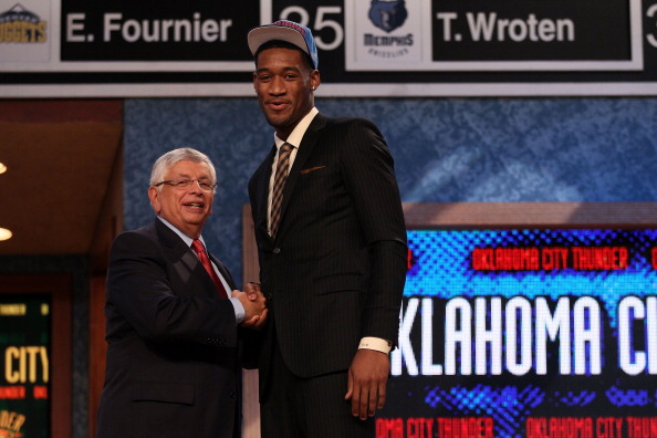 NEWARK, NJ - JUNE 28:  Perry Jones III (R) of the Baylor Bears greets NBA Commissioner David Stern (L) after he was selected number twenty-eight overall by the Oklahoma City Thunder during the first round of the 2012 NBA Draft at Prudential Center on June 28, 2012 in Newark, New Jersey. NOTE TO USER: User expressly acknowledges and agrees that, by downloading and/or using this Photograph, user is consenting to the terms and conditions of the Getty Images License Agreement.  (Photo by Elsa/Getty Images)