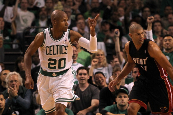 BOSTON, MA - JUNE 03:  Ray Allen #20 of the Boston Celtics reacts after he made a basket against Shane Battier #31 of the Miami Heat in Game Four of the Eastern Conference Finals in the 2012 NBA Playoffs on June 3, 2012 at TD Garden in Boston, Massachusetts. NOTE TO USER: User expressly acknowledges and agrees that, by downloading and or using this photograph, User is consenting to the terms and conditions of the Getty Images License Agreement.  (Photo by Jim Rogash/Getty Images)