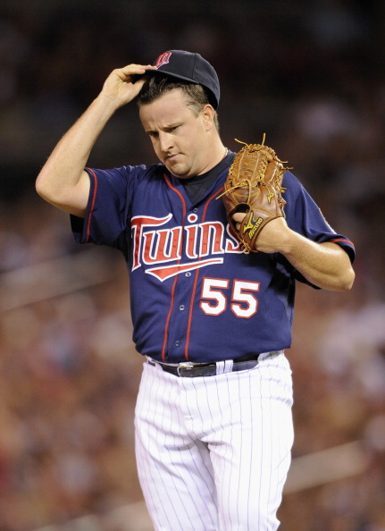 MINNEAPOLIS, MN - JUNE 15:  Matt Capps #55 of the Minnesota Twins reacts during the ninth inning against the Milwaukee Brewers on June 15, 2012 at Target Field in Minneapolis, Minnesota. The Brewers defeated the Twins 5-3. (Photo by Hannah Foslien/Getty Images)