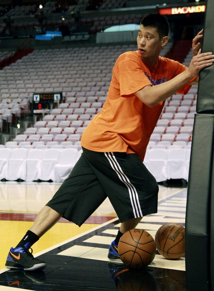MIAMI, FL - APRIL 28:  Guard Jeremy Lin of the New York Knicks works out  prior to his team taking on the Miami Heat in Game One of the Eastern  Conference Quarterfinals in the 2012 NBA Playoffs  on April 28, 2012 at the American Airines Arena in Miami, Florida. NOTE TO USER: User expressly acknowledges and agrees that, by downloading and or using this photograph, User is consenting to the terms and conditions of the Getty Images License Agreement.  (Photo by Marc Serota/Getty Images)