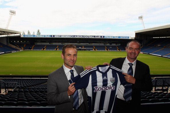 WEST BROMWICH, ENGLAND - JUNE 18:  (L_R) Dan Ashworth, West Bromwich Sporting and Technical Director unveils Steve Clarke as the new West Bromwich Albion manager at The Hawthorns on June 18, 2012 in West Bromwich, England.  (Photo by Warren Little/Getty Images)