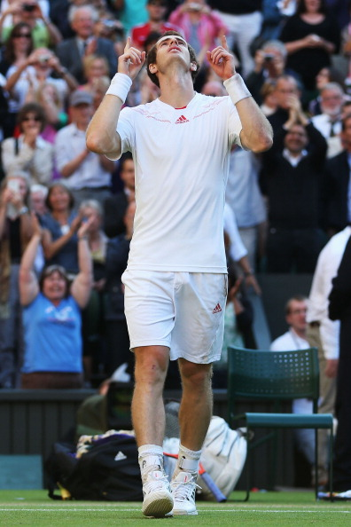 LONDON, ENGLAND - JULY 06:  Andy Murray of Great Britain celebrates match point during his Gentlemen's Singles semi final match against Jo-Wilfried Tsonga of France on day eleven of the Wimbledon Lawn Tennis Championships at the All England Lawn Tennis and Croquet Club on July 6, 2012 in London, England.  (Photo by Julian Finney/Getty Images)