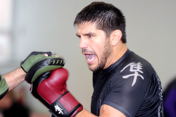 MONTREAL, CANADA - JUNE 27:  Patrick Cote trains with a sparring partner during a public training session on June 27, 2012 in Montreal, Quebec, Canada.  (Photo by Richard Wolowicz/Getty Images for Zuffa)