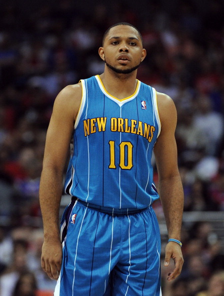 LOS ANGELES, CA - APRIL 22:  Eric Gordon #10 of the New Orleans Hornets during the game against the Los Angeles Clippers at Staples Center on April 22, 2012 in Los Angeles, California.  NOTE TO USER: User expressly acknowledges and agrees that, by downloading and or using this photograph, User is consenting to the terms and conditions of the Getty Images License Agreement.  (Photo by Harry How/Getty Images)