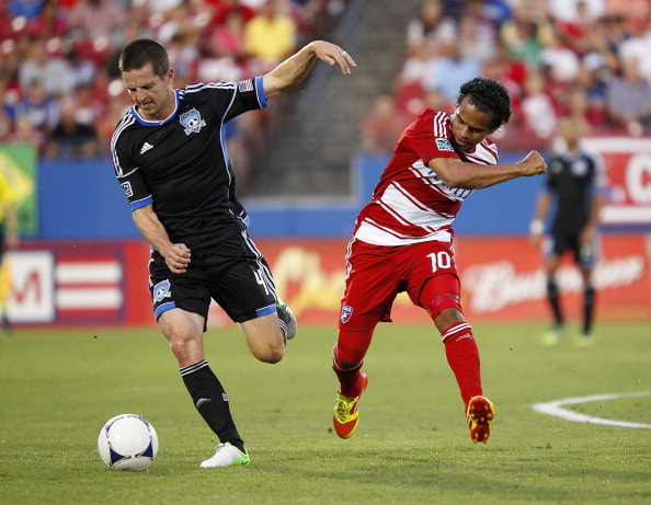 FRISCO, TX - JULY 7: Sam Cronin #4 of San Jose Earthquakes steals the ball from David Ferreria #10 of FC Dallas at FC Dallas Stadium on July 7, 2012 in Frisco, Texas. (Photo by Rick Yeatts/Getty Images)