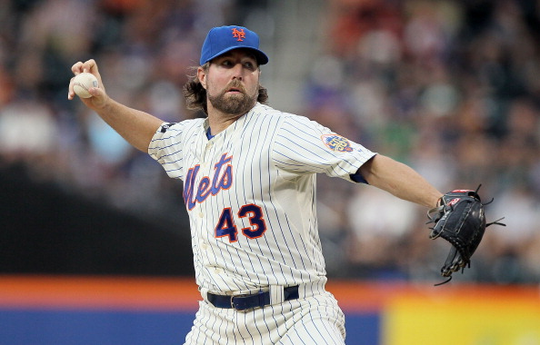 NEW YORK, NY - JULY 05:  R.A. Dickey #43 of the New York Mets pitches in the second inning against the Philadelphia Phillies at Citi Field on July 5, 2012 in the Flushing neighborhood of the Queens borough of New York City.  (Photo by Jim McIsaac/Getty Images)