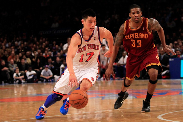 NEW YORK, NY - FEBRUARY 29:  Jeremy Lin #17 of the New York Knicks drives against Alonzo Gee #33 of the Cleveland Cavaliers at Madison Square Garden on February 29, 2012 in New York City. NOTE TO USER: User expressly acknowledges and agrees that, by downloading and/or using this Photograph, user is consenting to the terms and conditions of the Getty Images License Agreement.  (Photo by Chris Trotman/Getty Images)