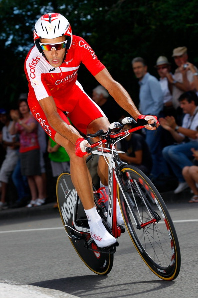 BESANCON, FRANCE - JULY 09:  Remy Di Gregorio of France riding for Cofidis competes in the individual time trial on stage nine of the 2012 Tour de France from Arc-et-Senans to Besancon on July 9, 2012 in Besancon, France. Police officers and gendarmes of the French Central Office against Environmental Damage and Public Health raided the Cofidis team hotel in Bourg-en-Bresse and have taken Di Gregorio into custody on a doping-related case.  (Photo by Doug Pensinger/Getty Images)