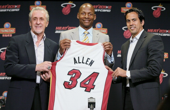 MIAMI, FL - JULY 11:  (L to R)  Miami Heat President Pat Riley, Ray Allen  and head coach Erik Spoelstra announce the signing of Allen at AmericanAirlines Arena on July 11, 2012 in Miami, Florida.  (Photo by Mike Ehrmann/Getty Images)