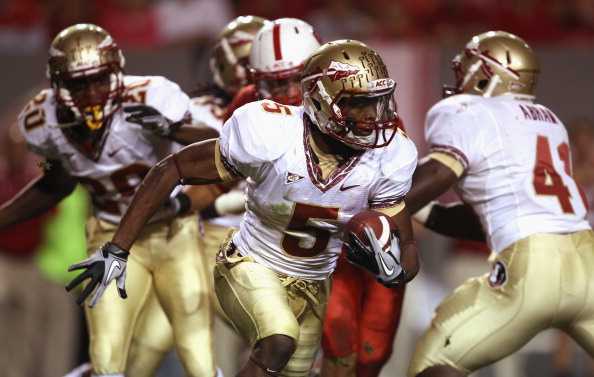 RALEIGH, NC - OCTOBER 28:  Greg Reid #5 of the Florida State Seminoles runs with the ball against the North Carolina State Wolfpack during their game at Carter-Finley Stadium on October 28, 2010 in Raleigh, North Carolina.  (Photo by Streeter Lecka/Getty Images)
