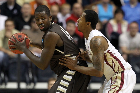 NASHVILLE, TN - MARCH 16:  Andrew Nicholson #44 of the St. Bonaventure Bonnies holds the ball against the Florida State Seminoles during the second round of the 2012 NCAA Men's Basketball Tournament at Bridgestone Arena on March 16, 2012 in Nashville, Tennessee.  (Photo by Jamie Squire/Getty Images)