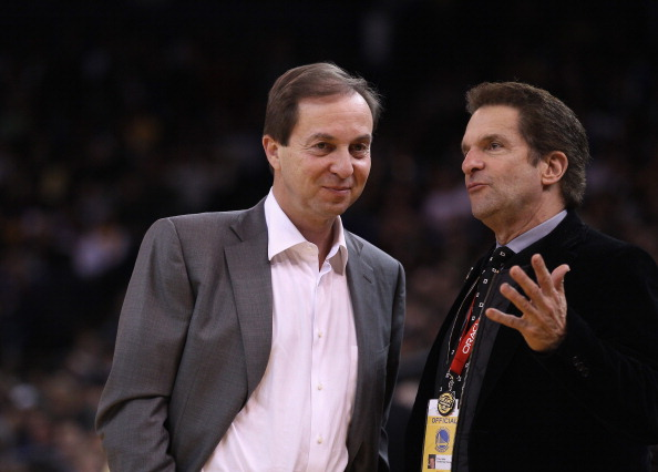 OAKLAND, CA - MARCH 27:  Golden State Warriors co-owners Joe Lacob (L) and Peter Guber talk during the Warriors game against the Los Angeles Lakers at Oracle Arena on March 27, 2012 in Oakland, California. NOTE TO USER: User expressly acknowledges and agrees that, by downloading and or using this photograph, User is consenting to the terms and conditions of the Getty Images License Agreement.  (Photo by Ezra Shaw/Getty Images)