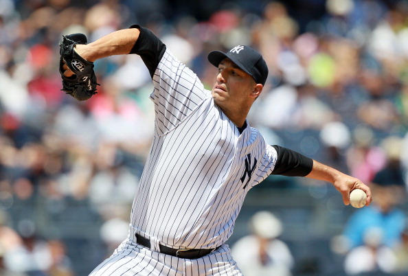 NEW YORK, NY - JUNE 27:  Andy Pettitte #46 of the New York Yankees pitches against the Cleveland Indians at Yankee Stadium on June 27, 2012  in the Bronx borough of New York City.  (Photo by Jim McIsaac/Getty Images)