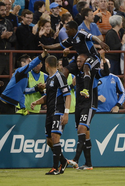 SANTA CLARA, CA - JULY 18:  Marvin Chavez #81, Jason Hernandez #21 and Victor Bernardez #26 of the San Jose Earthquakes celebrate after Chavez scored a goal in the first half against FC Dallas during an MLS Soccer game at Buck Shaw Stadium on July 18, 2012 in Santa Clara, California.  (Photo by Thearon W. Henderson/Getty Images)