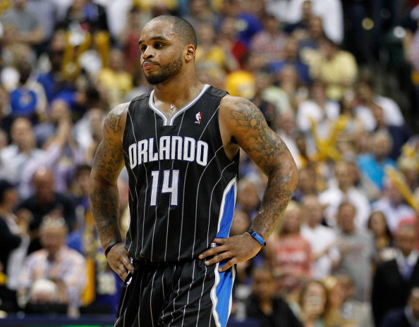 INDIANAPOLIS, IN - MAY 08: Jameer Nelson #14 of the Orlando Magic looks on late in the game while playing the Indiana Pacers in Game Five of the Eastern Conference Quarterfinals during the 2012 NBA Playoffs on May 8, 2012 at Bankers Life Fieldhouse in Indianapolis, Indiana.  NOTE TO USER: User expressly acknowledges and agrees that, by downloading and or using this photograph, User is consenting to the terms and conditions of the Getty Images License Agreement. (Photo by Gregory Shamus/Getty Images)