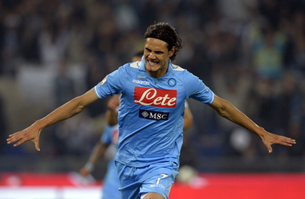 ROME, ITALY - MAY 20:  Edinson Cavani of SSC Napoli celebrates scoring the first goal during the Tim Cup Final between Juventus FC and SSC Napoli at Olimpico Stadium on May 20, 2012 in Rome, Italy.  (Photo by Claudio Villa/Getty Images)