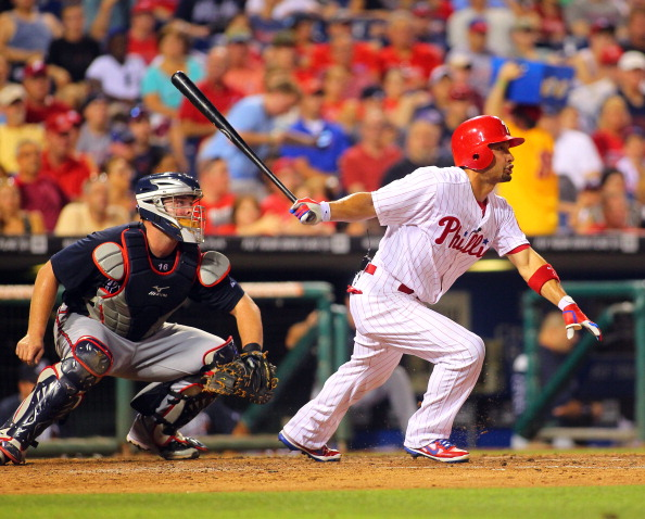 PHILADELPHIA, PA - JULY 07: Shane Victorino #8 of the Philadelphia Phillies bats against the Atlanta Braves during a MLB baseball game on July 7, 2012 at Citizens Bank Park in Philadelphia, Pennsylvania. The Braves defeated the Phillies 6-3. (Photo by Rich Schultz/Getty Images)