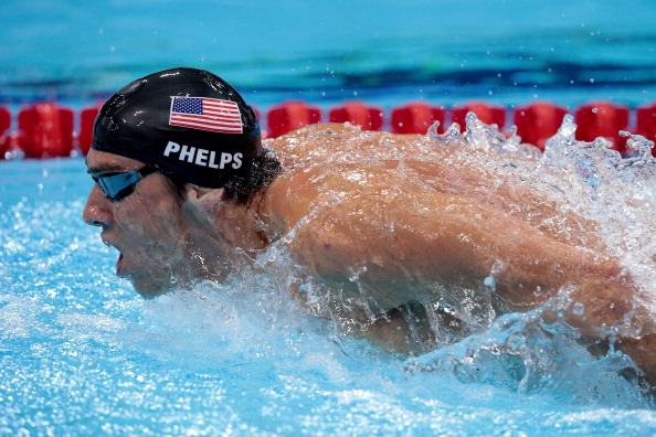 LONDON, ENGLAND - JULY 28:  Michael Phelps of the United States competes in the Final of the Men's 400m Individual Medley on Day 1 of the London 2012 Olympic Games at the Aquatics Centre on July 28, 2012 in London, England.  (Photo by Adam Pretty/Getty Images)