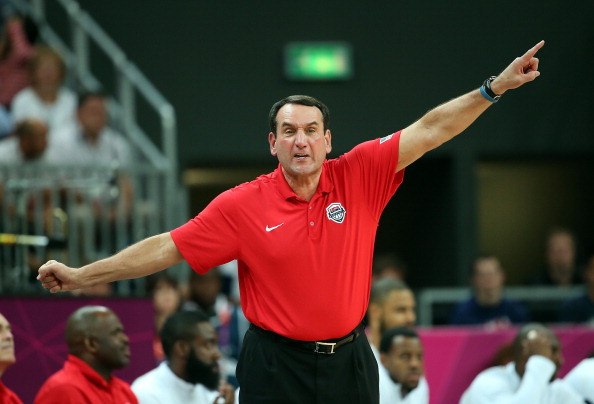 LONDON, ENGLAND - JULY 29:  Head coach Mike Krzyzewski of the United States shouts to his team against France during their Men's Basketball Game on Day 2 of the London 2012 Olympic Games at the Basketball Arena on July 29, 2012 in London, England.  (Photo by Christian Petersen/Getty Images)
