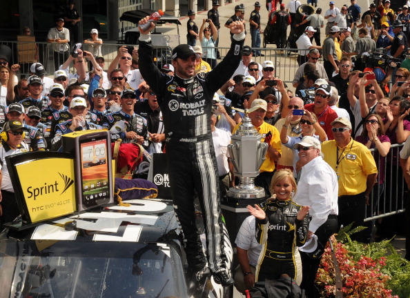 INDIANAPOLIS, IN - JULY 29:  Brickyard 400 winner Jimmie Johnson in Winners Circle at the Brickyard 400 presented by BigMachineRecords.com at Indianapolis Motorspeedway on July 29, 2012 in Indianapolis, Indiana.  (Photo by Rick Diamond/Getty Images for BigMachineRecords.com)
