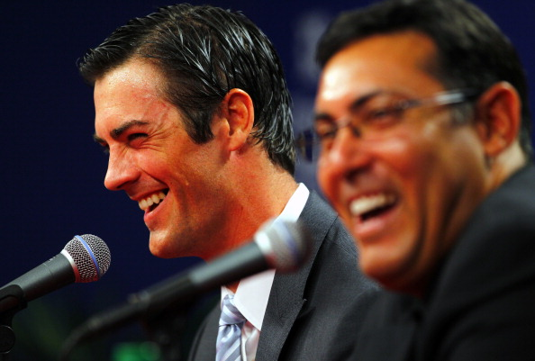 PHILADELPHIA, PA - JULY 25: Cole Hamels, left, of the Philadelphia Phillies and team Senior Vice President and General Manager Ruben Amaro Jr. announce Hamels six-year, $144 million contract extension before the start of their MLB baseball game against the Milwaukee Brewers on July 25, 2012 at Citizens Bank Park in Philadelphia, Pennsylvania. (Photo by Rich Schultz/Getty Images)