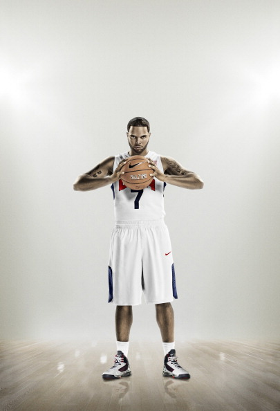 UNSPECIFIED - UNDATED - In this handout photo from Nike, USA Basketball team member Deron Williams wears the Nike HyperElite uniform made from recycled plastic bottles. (Photo by Nike via Getty Images)