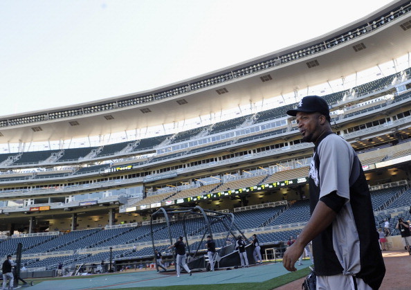 MINNEAPOLIS, MN - JULY 30: Francisco Liriano #58 of the Chicago White Sox walks onto the field during batting practice before the game against the Chicago White Sox on July 30, 2012 at Target Field in Minneapolis, Minnesota. Liriano was traded to the White Sox from the Twins on Saturday, July 28, 2012. (Photo by Hannah Foslien/Getty Images)