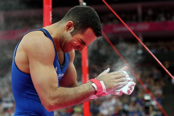 LONDON, ENGLAND - AUGUST 01:  Danell Leyva of the United States celebrates after his final rotation in the Artistic Gymnastics Men's Individual All-Around final on Day 5 of the London 2012 Olympic Games at North Greenwich Arena on August 1, 2012 in London, England.  (Photo by Ronald Martinez/Getty Images)