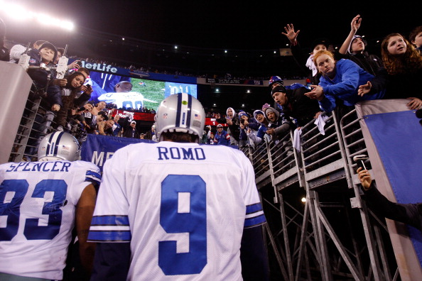 EAST RUTHERFORD, NJ - JANUARY 01:  Tony Romo #9 of the Dallas Cowboys walks off of the field after losing against the New York Giants at MetLife Stadium on January 1, 2012 in East Rutherford, New Jersey.  (Photo by Rich Schultz/Getty Images)