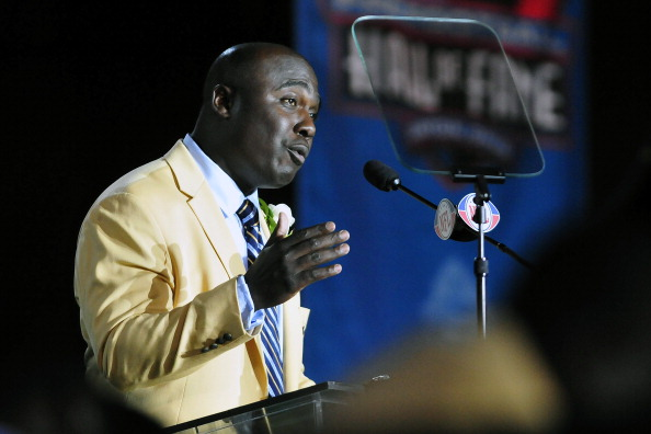 CANTON, OH - AUGUST 6:  Former St. Louis Rams running back Marshal Faulk talks to the fans after uveiling his bust at the Enshrinement Ceremony for the Pro Football Hall of Fame on August 6, 2011 in Canton, Ohio.  (Photo by Jason Miller/Getty Images)