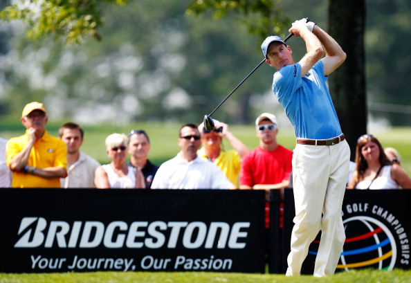 AKRON, OH - AUGUST 03:  Jim Furyk plays a shot from the ninth tee during the second round of the World Golf Championships-Bridgestone Invitational at Firestone Country Club South Course on August 3, 2012 in Akron, Ohio.  (Photo by Gregory Shamus/Getty Images)