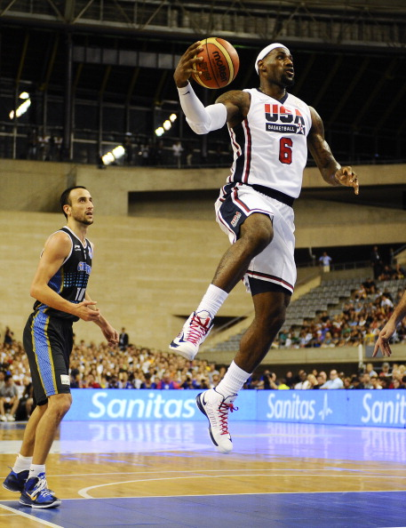BARCELONA, SPAIN - JULY 22:  LeBron James #6 of the US Men's Senior National Team dunks the ball during a Pre-Olympic Men's Exhibition Game between USA and Argentina at Palau Sant Jordi, on July 22, 2012 in Barcelona, Spain.  (Photo by David Ramos/Getty Images)