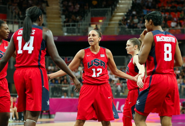 LONDON, ENGLAND - AUGUST 03:  Diana Taurasi #12 of United States huddles up with teamamtes during the Women's Basketball Preliminary Round match against Czech Republic on Day 7 of the London 2012 Olympic Games at Basketball Arena  on August 3, 2012 in London, England.  (Photo by Christian Petersen/Getty Images)